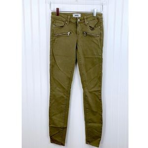 Anthro Paige • Army Green Indio Zip Jeans • 25